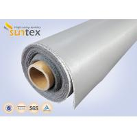 Buy cheap 0.3 Mm Thick Blue And Black Color Silicone Fiberglass Cloth Safety Curtain Fabric from wholesalers