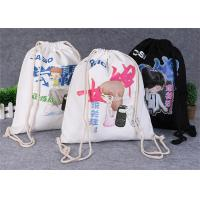 China Promotional Travel Storage Custom Canvas Bags , Drawstring Backpack Bag on sale