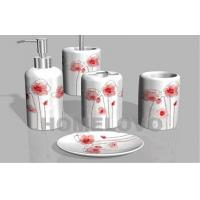 Buy cheap White Printed complete Ceramic Bathroom Set Toothbrush Holder from wholesalers