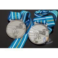 Buy cheap Sports Skiing Event 3D Effect Metal Award Medals With Antique Silver Plating Stripe Ribbon product