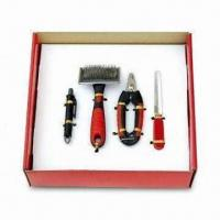 Wholesale Four-piece Pet Dog Grooming Tools Kit, Includes Brush, Nail Clipper, Nail File and Flea Catcher Pen from china suppliers