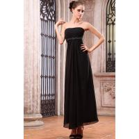 Buy cheap Classic Strapless Straight Across Black Ruffle Chiffon Mother Of Bride Dresses With Sequins Ankle Length from wholesalers