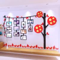 Buy cheap 3D acrylic Leaves photo frame wall stickers children living room TV background wall sticker sofa wall decorative sticker from wholesalers