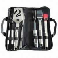 Buy cheap 9-piece Barbeque Tool in Bag, with Zipper, Includes Fork, Spatula, Tong and Cleaning Brush from wholesalers