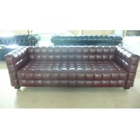 Buy cheap Modern 3 Seater Leather Sofa , Solid Wood Legs Grid Sofa 228 * 88 * 79cm from wholesalers