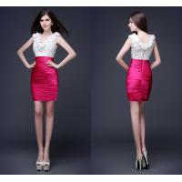 Knee Length Ladies Party Dresses V Neck Shiny Crystal Beads Manufactures