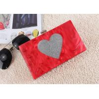 Buy cheap Wedding Hard Case Acrylic Clutch Bags with silver heart glitter For Dinner Party from wholesalers