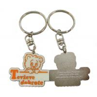 Zinc Alloy Custom Material Shape Bear Logo Metal Keychains with Lacquered Color Manufactures