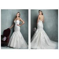 Buy cheap Luxury Fitted Mermaid Wedding Dress , Multi Color Lace Mermaid Wedding Gown from wholesalers