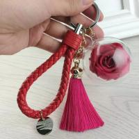 Buy cheap Christmas Tree Decoration Acrylic Ball Preserved Rose Key Ring from wholesalers