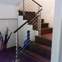 Quality Steel stair rails and banisters with wooden hand rail design for sale