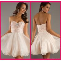 Sweetheart Ball Gowns Short Long Homecoming Dresses Pink Organza Beading Manufactures