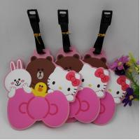 Buy cheap Pink Hello Kitty Friends Rubber PVC Luggage Tags Suitcase Luggage Tags With Black Plastic Rope, Accept OEM 2D Or 3D from wholesalers