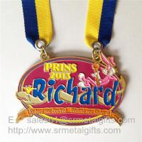Buy cheap Enamel painted metal medals with double ended ribbon, enamel metal event medals, from wholesalers