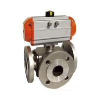 Buy cheap Sanitary SS 304,316 3 way Ball Valve Pneumatic operated Flanged End,PN16,PN40,L Port/T Port from wholesalers