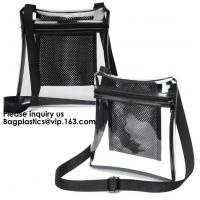 Buy cheap Clear Sling Bag PVC Tote Bag With Interior Mesh Bag And Shoulder Strap,Clear PVC large handbag with small pouch from wholesalers