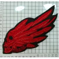 Skulls With Wings Embroidered Wire Bullion Badge With Skull Patch Manufactures