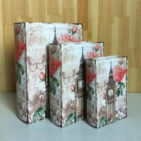 S/3 Canvas Wooden faux leather book box for gift wood box gift Manufactures