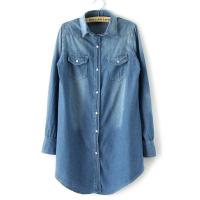 Buy cheap Denim Long Button Down Womens Shirts Blouses OEM For Office from wholesalers