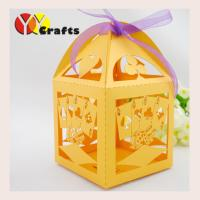 Buy cheap Lemon Yellow Candy Wedding Gift Boxes Birdcage Poker Design from wholesalers