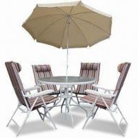 Buy cheap 6 Pieces Folding Dining Set, Includes Cushion Chairs and Parasol, Suitable for Garden from wholesalers