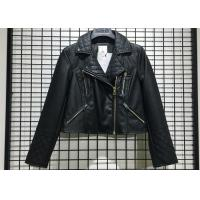 Buy cheap Black Textured Pleather Ladies PU Jacket Asymmertrical Zip Through For Women from wholesalers