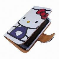 Wholesale Cartoon PU Leather Mobile Phone Cases for iPhone 4, BlackBerry 811, Available in Various Colors from china suppliers