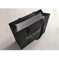 Buy cheap Recyclable Black Paper Shopping Bags Boutique Imprinted Sturdy Delicate from wholesalers