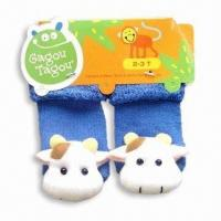 China Baby Full Terry Socks with Rattle Stuffed Cow Head, Made of Cotton on sale