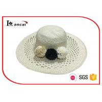Buy cheap Double layer wide brimmed straw sun hat with flower decoration for female from wholesalers