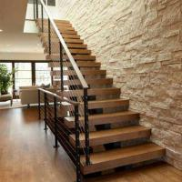 Wholesale Hot sell Modern villa stair design Free design acasia wood staircase with cable railing from china suppliers