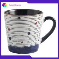 Buy cheap 400ml Stoneware Hand Painted Coffee Cups Handprinted Logo Low Water Absorption from wholesalers