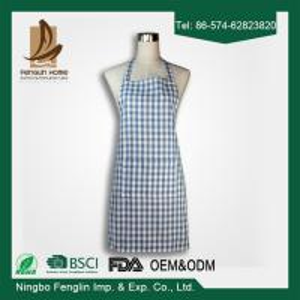 Fashion Unisex Checker Yarn Dyed Cotton Bib Kitchen Apron With No Sleeve Manufactures