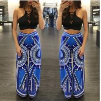 Buy cheap breathable loose cotton printed long blue trouser with elastic waist from wholesalers