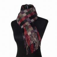 Wholesale Wool Scarf, Customized Specifications are Accepted, Measures 67x178 and 10x2cm from china suppliers