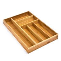 Buy cheap Bamboo Flatware Wood Tray Organizer No Adjustable With 6 Compartment from wholesalers