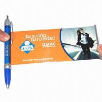 Buy cheap Plastic banner pen, 175 x 68mm, full color printing on both sides of retractable paper from wholesalers