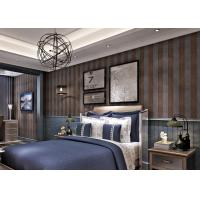 Quality Embossed Contemporary Wall Coverings with Vertical Stripes Pattern , Coffee and Black for sale