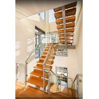 Buy cheap Wooden Tread Tempered Glass Railings Stairs Customized For Interior Staircase from wholesalers