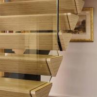Wholesale villa stair design mono beam glass railing steel -wood staircase from china suppliers