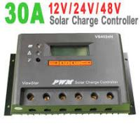 Buy cheap Gray Color IP30 32 bit MCU  PWM Solar Charge Controller 12V / 24V / 48V auto , 30A from wholesalers