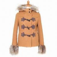 Buy cheap Lady's Fur Sleeve-opening Winter Casual Fit Coats with Fur Hood and Horn Buckles from wholesalers