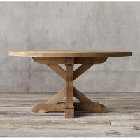 Country round wood furniture dining table with Rough - hewn salvaged wood planks Manufactures