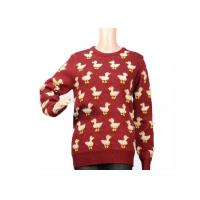 Buy cheap Ladies Crew Neck Red Mohair Sweater Jacquard 9 Gauge Cute Duck Knitted Pattern from wholesalers