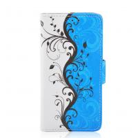 Buy cheap Blue Floral Leather Cell Phone Wallet Cover For Huawei y511 / y320 / g510 / y300 from wholesalers