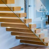 Wholesale Prefab house floating stair /wooden contemporary staircases/Straight flight staircases from china suppliers