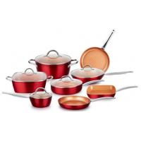 Buy cheap Pressed aluminum Red Copper Ceramic Non-Stick 10 Piece Cookware Set from wholesalers