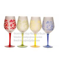 Buy cheap Sand blast wine glasses with painted colores from wholesalers