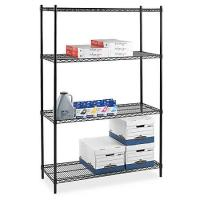 Buy cheap Four - Tier Commercial  Wire Shelving , Flat Black Adjustable Saferacks Freestanding Shelf from wholesalers