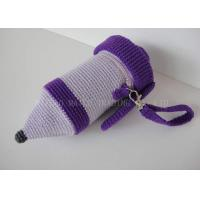Buy cheap Pencil Shape Crochet Mug Holder Purple Knitted Cup Sleeve With Zipper from wholesalers